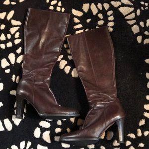 J Crew Brown Italian Leather High Heel Boots 👢!